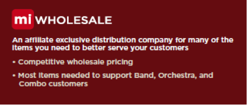miWholesale an affiliate exclusive distribution company for many of the items you need to better serve your customers