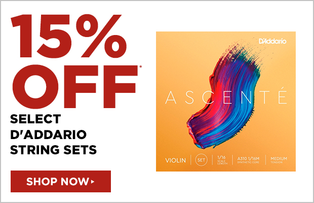 15% off select D'Addario string sets