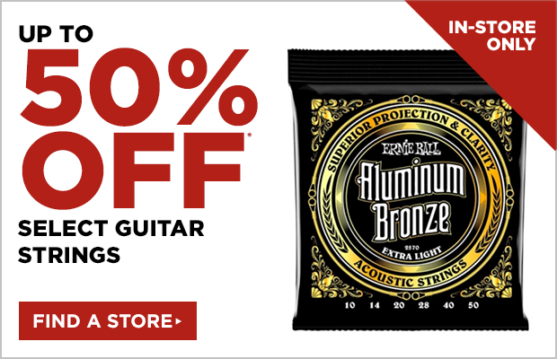 Up to 50% off select guitar strings
